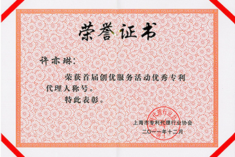 Excellent Patent Agent Certificate